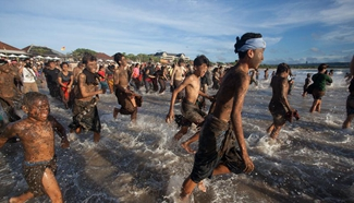 Traditional mud baths known as Mebuug-buugan held in Bali