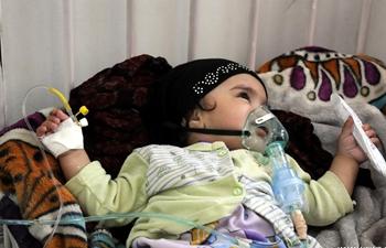 Children treated at therapeutic feeding center in Yemen