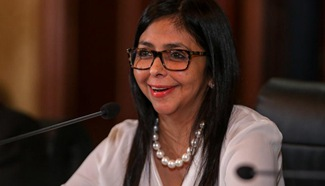 Venezuela's FM addresses press conference in Caracas