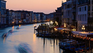 Dusk view of Venice's Grand Canal in Venice, Italy