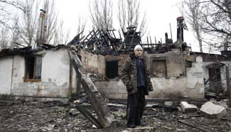 Buildings damaged after heavy shelling in Ukraine