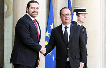 French president meets visiting Lebanese PM in Paris