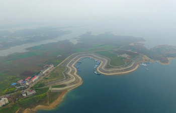 Aerial view of wetland of Danjiang River in Central China's Henan