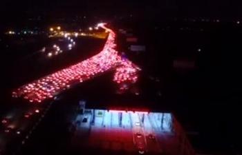 Massive traffic jam coming into Beijing after Qingming Festival break