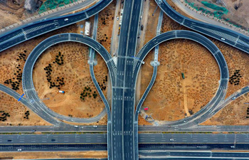 Aerial view of urban roads in N China's Taiyuan