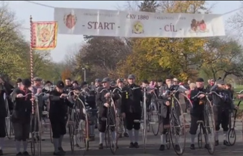 Czech penny farthing riders gather for annual autumnal ride
