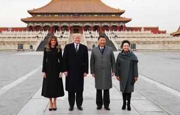 Xi, Trump visit three main halls of Forbidden City