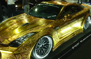 One million dollar gold-engraved car dazzles at Dubai Motorshow