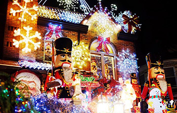 Christmas lights and decorations put up in Brooklyn, New York