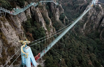 Glass bridge at Marenqifeng scenic spot in Anhui formally comes into use