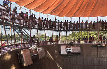 "Stunt performed in ""Well of Death"" in Bolpur, India"