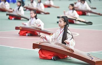 Students show culture education in Fuzhou, southeast China