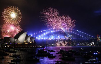 Fireworks explode over Sydney Harbour on New Year's Eve