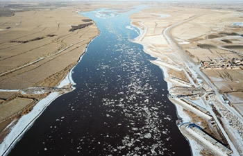 Segment of Yellow River in Ningxia jammed by floating ice