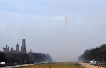 Fog covers Washington D.C., the United States