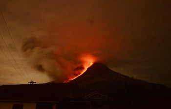 Mount Sinabung spews lava and ash in North Sumatra