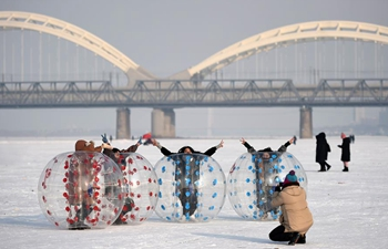 Tourists play on frozen Songhua River in NE China's Harbin