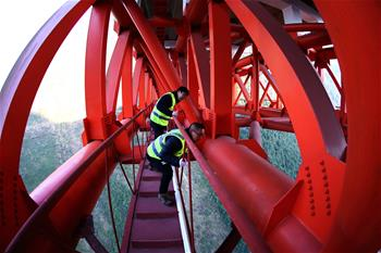 Engineers inspect Zhijinghe Bridge in central China's Hubei