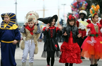 Children take part in carnival parade in Croatia