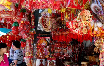 Decorative items for Chinese Lunar New Year seen in Chinatown of Yangon