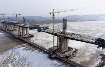 Yellow River bridge of Yuncheng-Lingbao expressway under construction