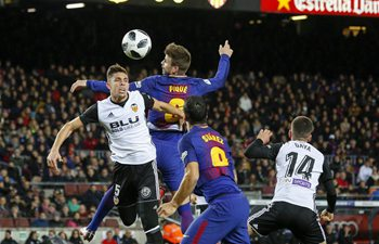 Barcelona defeats Valencia 1-0 in Spanish King's Cup semifinal