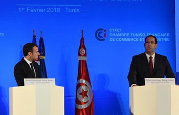 French president, Tunisian PM attend Tunisia-France economic forum