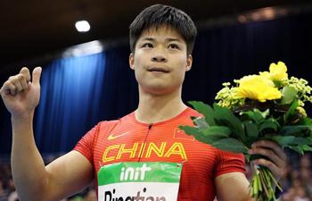Su Bingtian wins Men's 60m final of 2018 IAAF World Indoor Tour in Germany