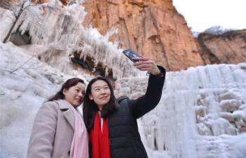 Scenery of icefall at Jiulongxia scenic spot in N China's Hebei