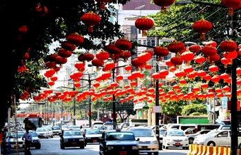 Lanterns decorated for upcoming Chinese Lunar New Year in Yangon