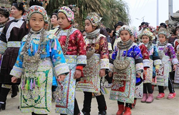 Childern attend celebration to greet Spring Festival in SW China