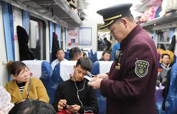 Trips on train from southeast China's Fuzhou to Beijing