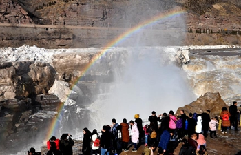 Spectacular scenery of Hukou Waterfall in north China's Shanxi