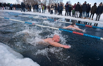 25-meter winter swimming race held in Trakai, Lithuania