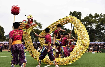 Dragon and lion dance competition held in S China's Guangxi
