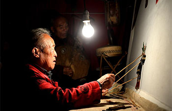 Shadow puppet play staged at Yuxian Village, NW China's Shaanxi