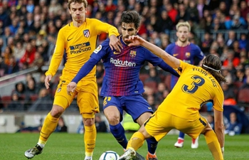 FC Barcelona beats Atletico Madrid 1-0 at Spanish league soccer match