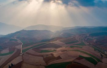 Aerial view of Dongchuan Red Land in SW China's Yunnan