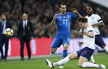 England draws Italy 1-1 during friendly soccer match in London, Britain