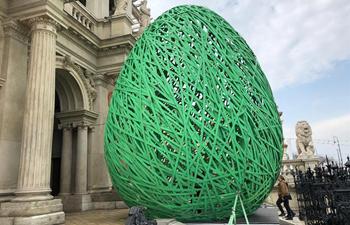 Painted giant eggs on display to celebrate Easter in Budapest, Hungary