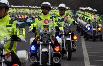 Traffic police officers receive new motorcycles in Qingdao