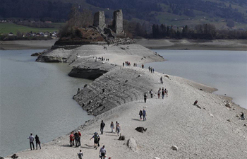 Level of Lake of Gruyere lowered in Switzerland