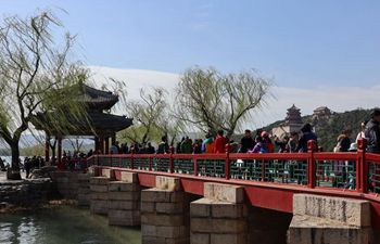 People visit Summer Palace to enjoy spring view in Beijing