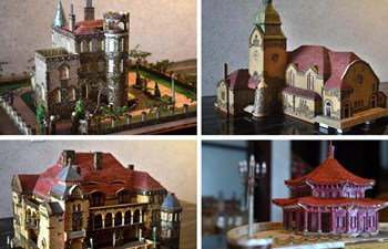 In pics: shell-made miniature architectural models of east China's Qingdao