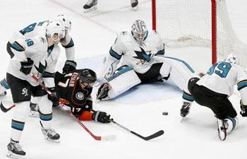 San Jose Sharks beat Anaheim Ducks 3-2 at NHL hockey match