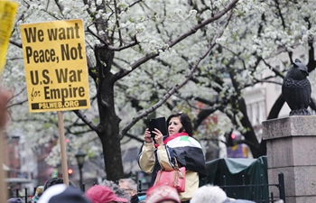 People take part in anti-war protest in New York