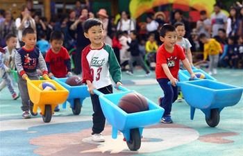 Children take part in sports games in Tianjin, N China