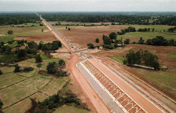 Longest bridge in China-Laos railway project under construction