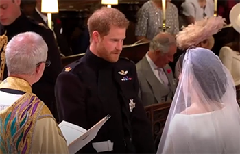 """""""Till death us do part"""" The royal couple make their vows and are declared husband and wife"""