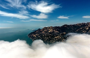 Aerial view of Laoshan mountain scenic zone in Qingdao